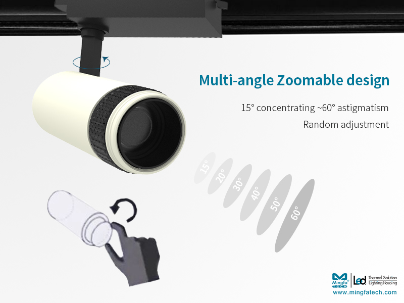 Mingfa Tech-New Product Preview|15-60° Stepless Zoomable Led Track Light - Kun Family-4